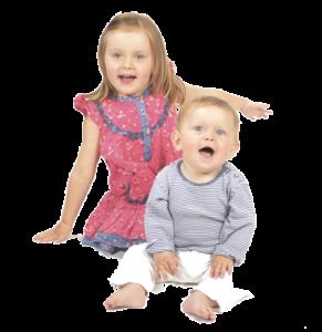 Två glada barn